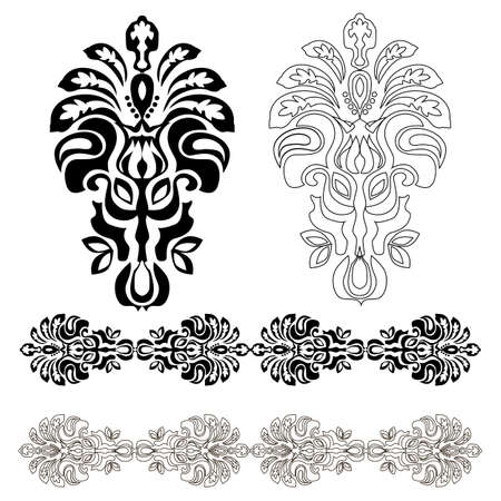 Eastern ornament. Set of black and white design elements. Modern color style.