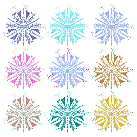 Set of snowflakes. Unusually beautiful shape. Different colors. Snowflakes on a white isolated background.