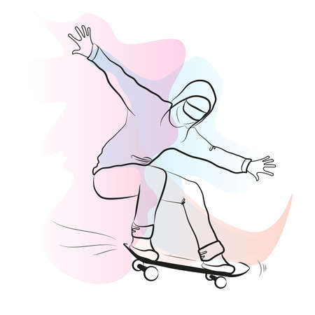 Skateboard T-shirts. Graceful drawing of a man participating in a skateboarding competition. Skateboarding. Simple hand drawn stripes, vector illustration. Watercolor stains. Cool drawing for print and web pages. Çizim