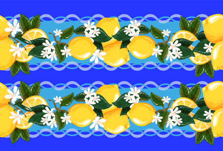 Tablecloth in vector. Seamless pattern with lemons and white flowers for towels, bed linen and tablecloths. The color is blue, beige and blue, yellow.
