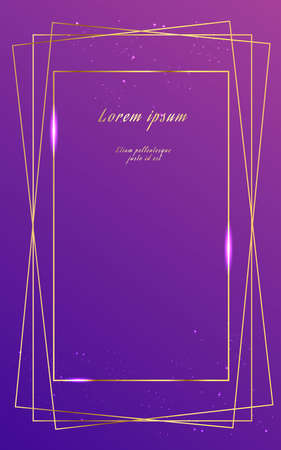 Wedding invitation purple gradient and with gold frame on dark blue background. Template for congratulations, cards, posters with place for text.