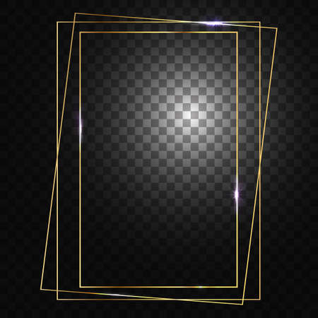 Gold frame. Square frame for designs and photos. Glowing sparkles and stars on the frames. Isolated, transparent background.