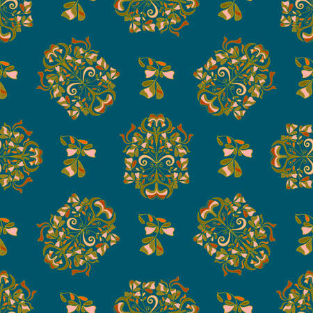 Seamless floral pattern for design, vector illustration. Victorian era, beautiful twisted pattern. Vector.