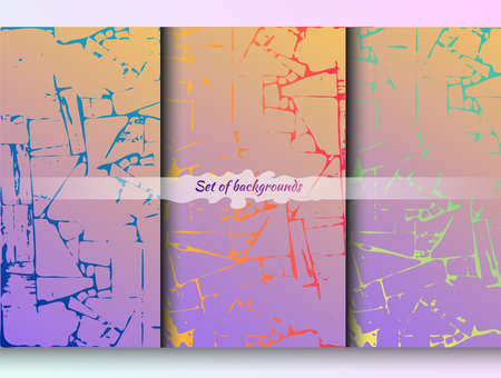 Set of three vibrant geometric vector backgrounds with cracks and splits. Bright gradients for posters, advertisements, banners, wallpapers and covers. For printing web pages. Stock Illustratie