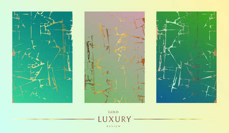 Gold frame. Kintsugi on a gradient background. Gold texture. Broken stone effect from luxury marble. Wallpaper with shiny graphics. Wedding card template.