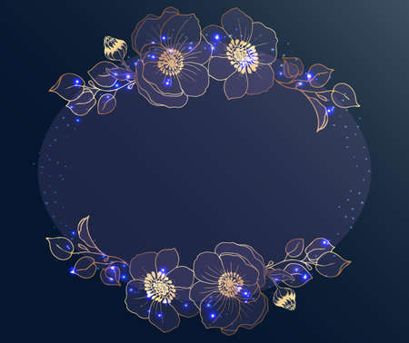 Gold frame. A circle in golden branches on a dark gray background. Glowing sparks and dots. Place for text. Vector Illustration