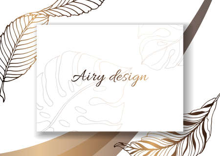 Plants line gold. Invitation card template. Garden leaves. Detailed outline drawing. Rectangular frame with placeholder text. Luxurious bright shiny gold. For printing and the web