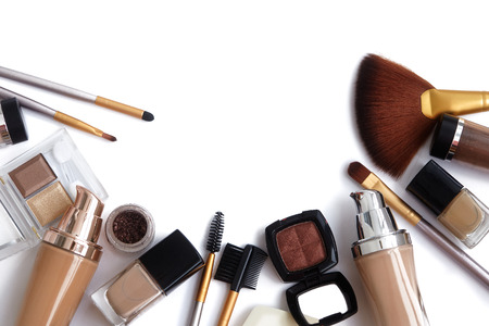 Makeup tools and accessories. Brow eyeshadows, naturel skin foundation for clean ton on face, nail polish, make-up brushes