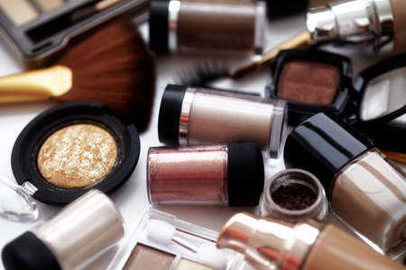naturel: Makeup tools and accessories. Brow eyeshadows, naturel skin foundation for clean ton on face, nail polish, make-up brushes