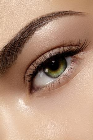 Beautiful macro shot of female eye with classic clean makeup. Perfect shape of eyebrows, brown eyeshadows and long eyelashes. Cosmetics and make-up. Closeup macro shot of fashion natural eyes visage