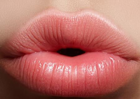 クローズ アップ完璧な自然なリップメイク美しい女性口。ふっくらセクシーな唇。マクロ写真の顔の詳細。完璧なきれいな肌、新鮮な唇のメイク。