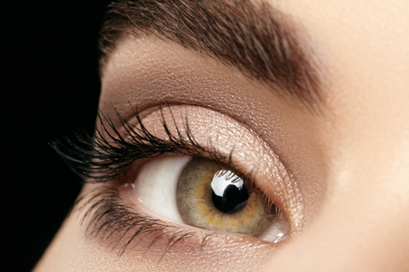 Close-up macro of beautiful female eye with perfect shape eyebrows. Clean skin, fashion naturel make-up. Good vision.