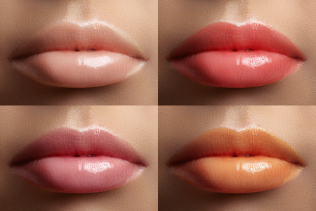 Beautiful lip collection. Fashion sexy make-up set with female plump lips. Cute sweet color, natural light skin color, gloss pink, coral and juicy orange. Fashion variant for makeup Stock Photo