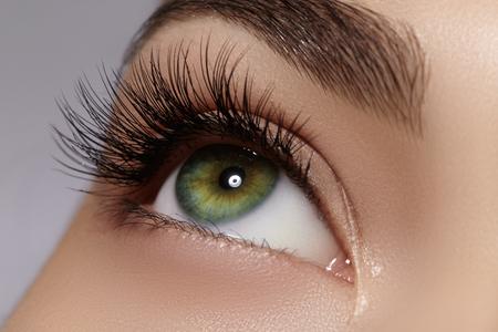 Mooie die macro van vrouwelijk oog met extreme lange wimpers en zwarte voeringsmake-up wordt geschoten. Perfecte vormsamenstelling en lange wimpers. Cosmetica en make-up. Close-upmacro van het gezicht dat van de manierogen wordt geschoten Stockfoto