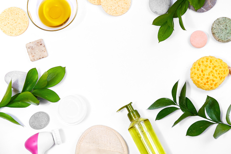 Spa background with Bath Accessories, Face and Body care. Set for personal care. Clean skin with brush, routine things. Spring picture on white background 스톡 콘텐츠