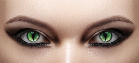Close-up of Woman Eyes. Halloween Makeup. Cat Eye Lens. Fashion Catwalk Black Make-Up. Luminous Green Cats Eyes. Closeup Shot