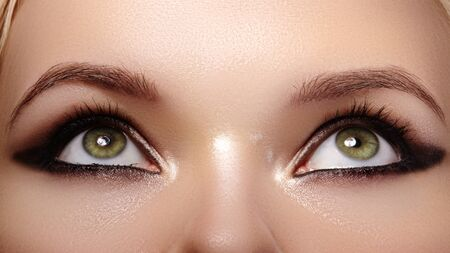 Beautiful Macro Shot of Female Eyes with Fashion Black Smoky Makeup. Cosmetics and Make-up.