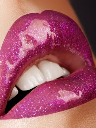 Beautiful Woman Lips with Fashion Lipstick Makeup. Cosmetic, Fashion Make-Up Concept. Beauty Lip Visage. Passionate kiss.