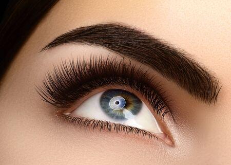Hermoso ojo femenino Macro con pestañas extremadamente largas y maquillaje de celebración. Maquillaje de forma perfecta, pestañas largas de moda. Cosméticos y maquillaje. Primer plano macro de rostro de ojos de moda Foto de archivo