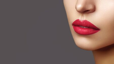 Beautiful Woman Lips with Fashion Lipstick Makeup. Cosmetic, Fashion Make-Up Concept. Beauty Lip Visage. Passionate kiss. Female Sexy Open Mouth Zdjęcie Seryjne