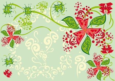 Adornos florales abstractos. Ilustración.