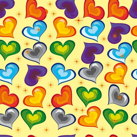 abstract pattern with bright stars and colors hearts. Illustration Vector