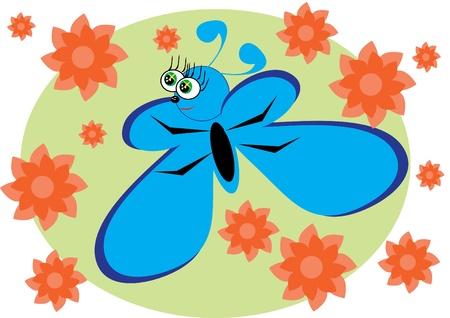 cartoon little butterfly on isolated background. Illustration. Иллюстрация