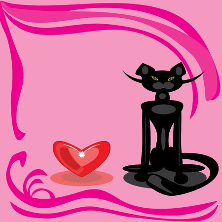 Black cat and heart on a pink background. Illustration Vector
