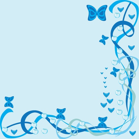 Abstract framework with butterflies on a blue background Vector