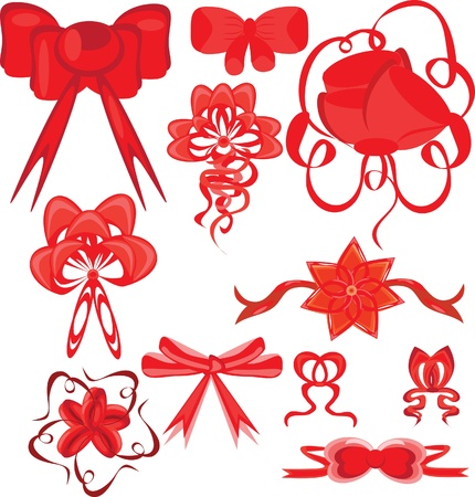 upmarket: Set of red bows on the isolated background. Illustration.