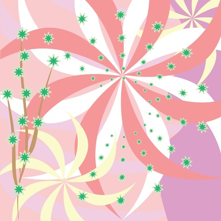 abstract ping background with flowers. Illustration Stock Vector - 10870209
