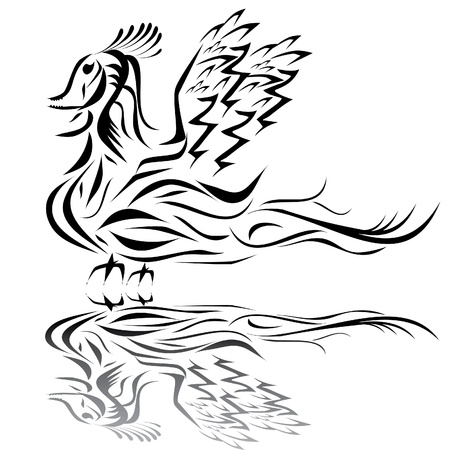 Dragon on the isolated background. Illustrtion. Vector