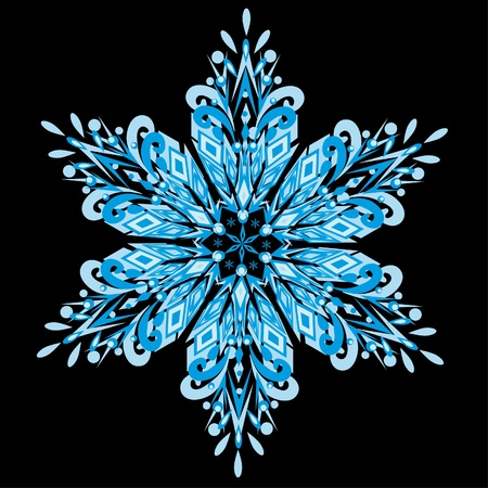 Vector snowflake on a black background