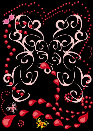abstract background with butterflies and drops Vector