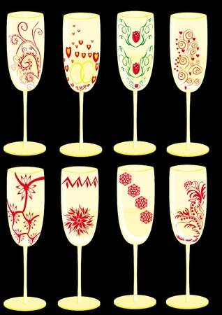 Set of celebratory glasses with patterns Vector