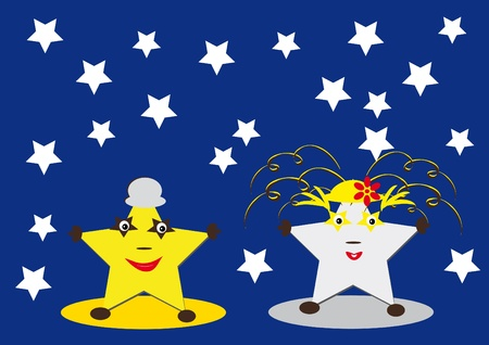 space: two cartoon stars. absrtact vector illustration