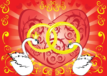 Wedding background with swans and heart Vector