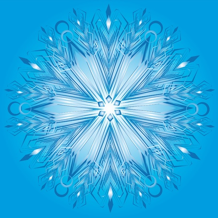 blue print: Vector snowflake on a blue background Illustration