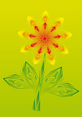 possibilities: Gold fire flower on isolated background.. Illustration.