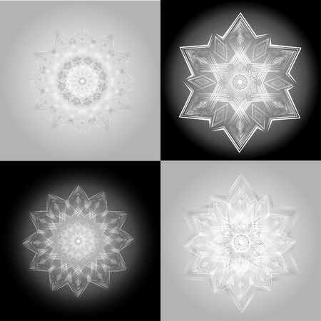 set of abstract vector isolated snowflake Vector