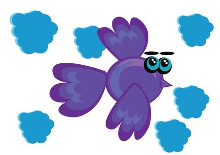 cartoon little bird on isolated background. Illustration. Vector