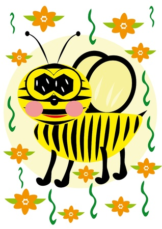 The bee  is fly. Illustration Vector