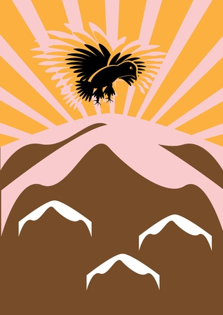 The eagle flies over mountains in sun beams. Illustration. Vector