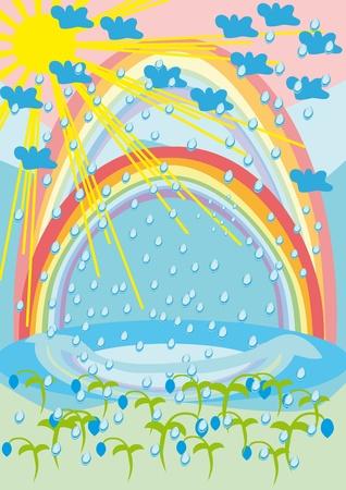La lluvia, el sol, arco iris y flores. Ilustración Foto de archivo - 10891646