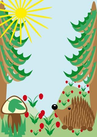 Hedgehog on a wood glade. illustration Vector