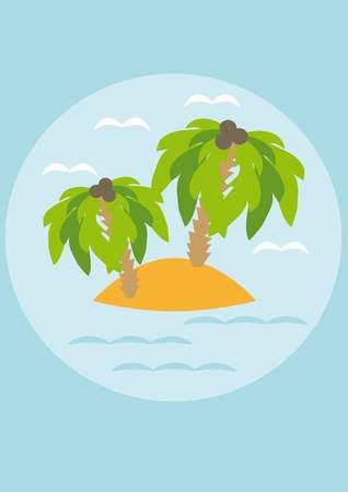 Island with palm trees in the sea. Illustration 向量圖像