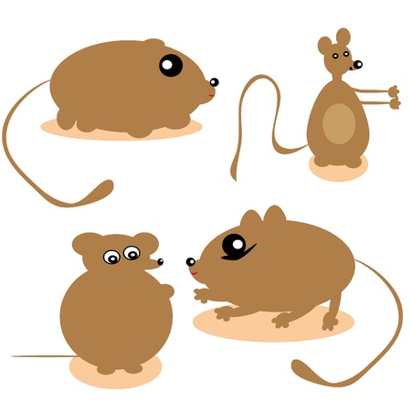 Mice on the isolated background. illustration Vector