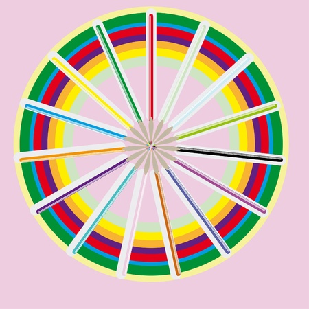 Circle from color pencils. Illustration Stock Vector - 10889977