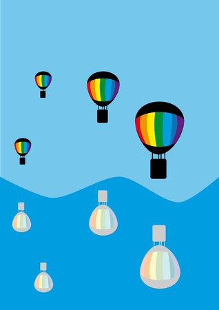 recreational pursuit: Balloons in the sky. Illustration