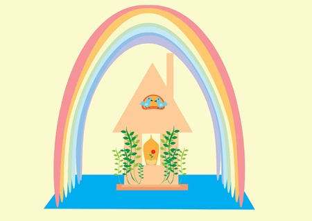 Small house and rainbow. Illustration. Vector